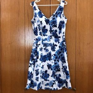 Blue/wht floral Chaps fit and flare dress, sz 14